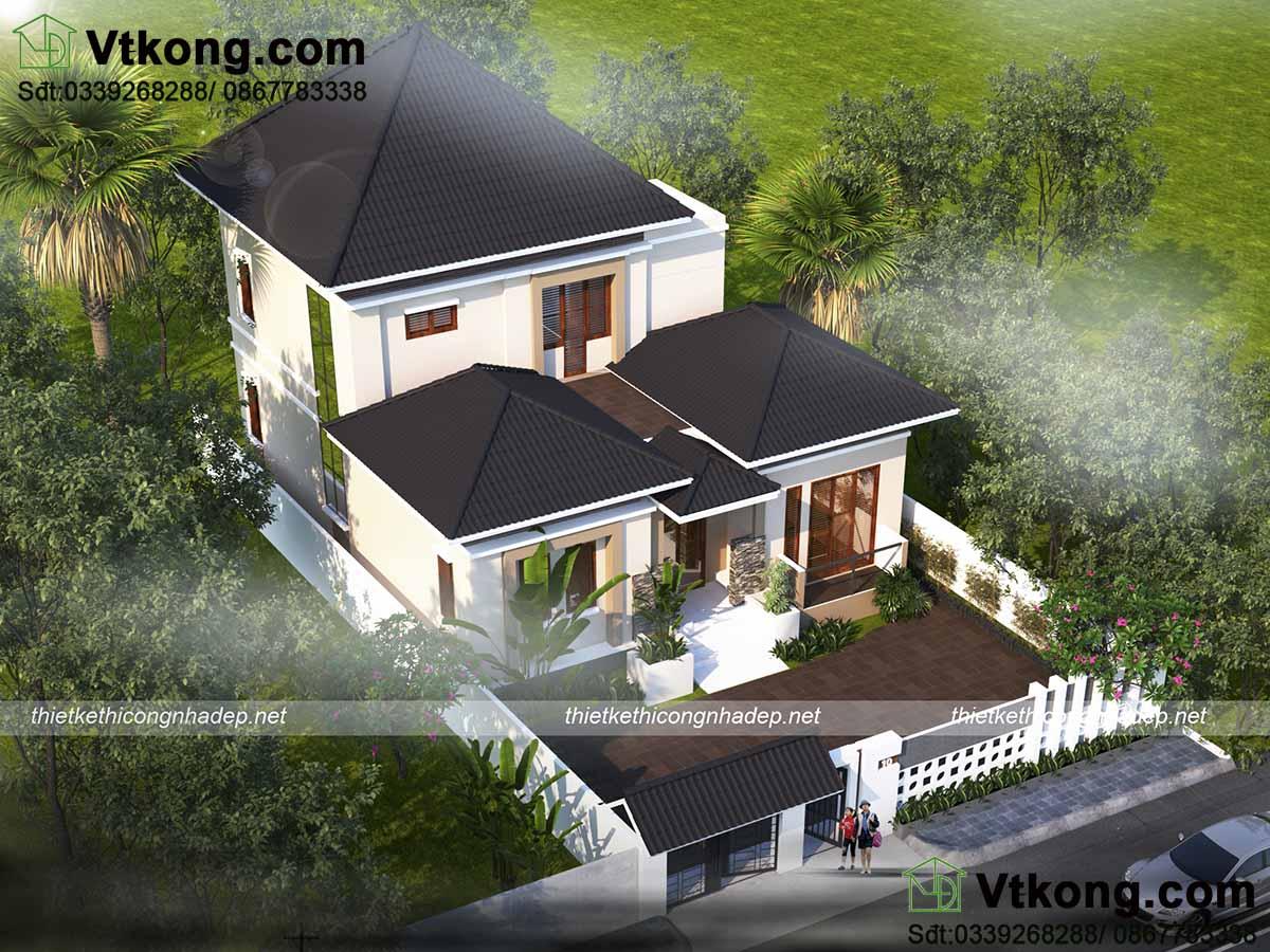 Thiết kế biệt thự 2 tầng kiểu châu âu đẹp hiện đại với tone trắng sáng
