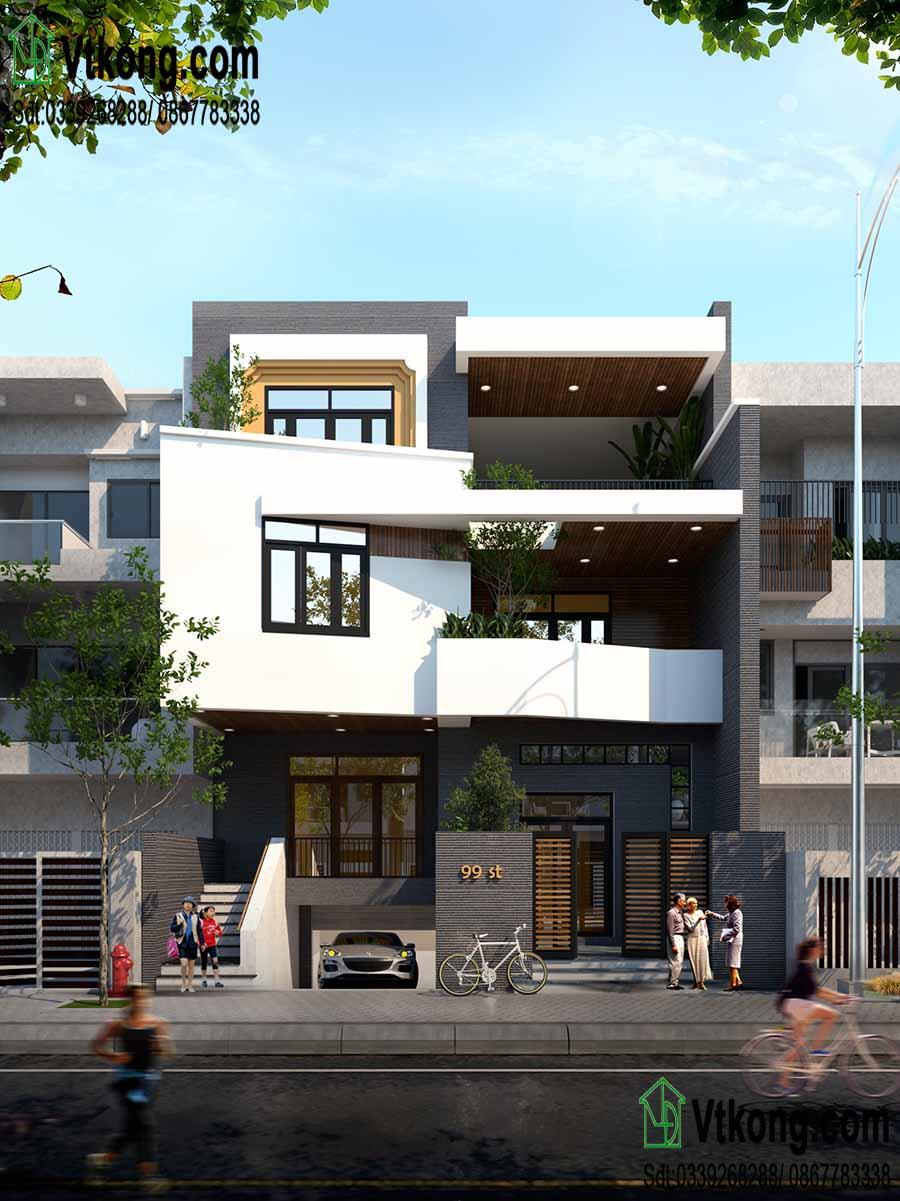 Tư vấn thiết kế nhà phố 3 tầng mặt tiền 10m độc đáo NP3T05 2