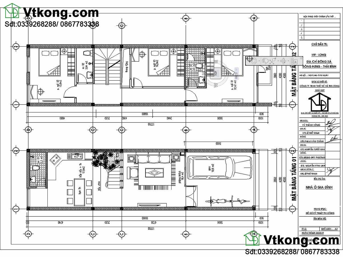 Mặt bằng tầng 1 và tầng 2 nhà phố 3 tầng 4.5x18m