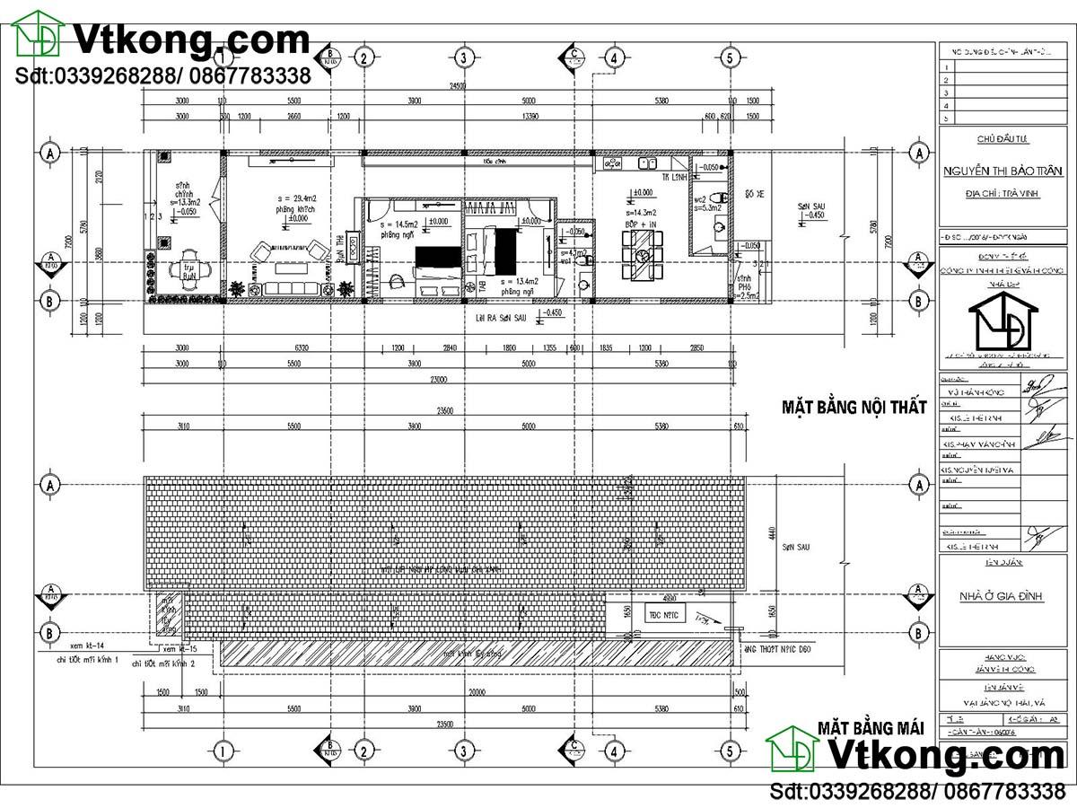 Bản vẽ mẫu nhà cấp 4 mái lệch giá rẻ 6x23m