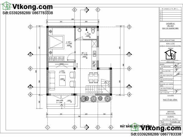 Mặt bằng tầng 1 mẫu nhà phố 3 tầng 7x10m