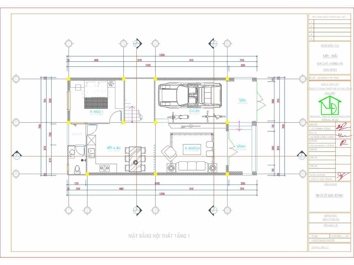 Mặt bằng tầng 1 mẫu nhà phố 3 tầng 7x13m hiện đại và khoa học