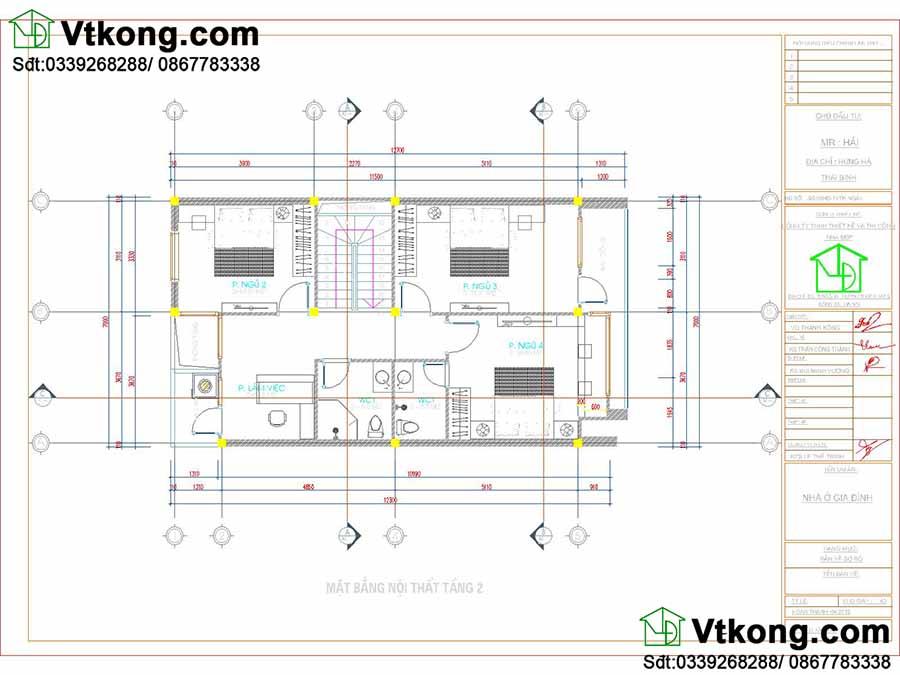 Mặt bằng tầng 2 mẫu nhà phố 3 tầng 7x13m hiện đại và khoa học