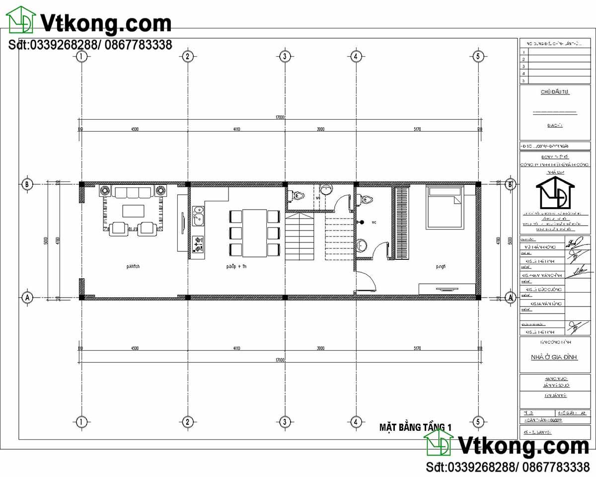 Mặt bằng nội thất tầng 1 mẫu nhà ống 3 tầng 5x17m