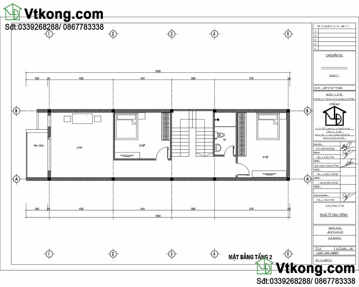 Mặt bằng nội thất tầng 2 mẫu nhà ống 3 tầng 5x17m