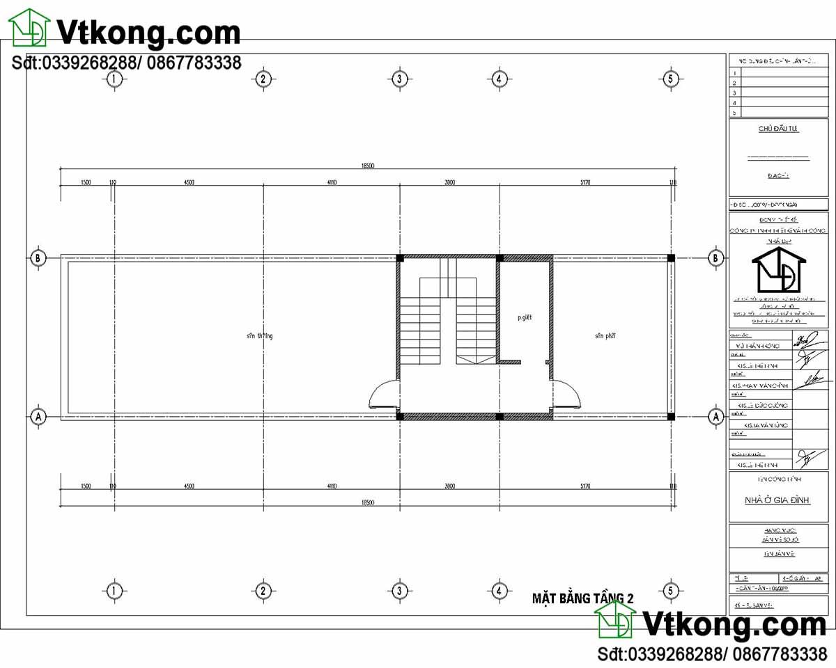 Mặt bằng nội thất tầng 3 mẫu nhà ống 3 tầng 5x17m