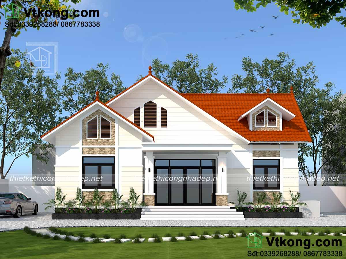 Mẫu thiết kế nhà vườn mái thái hiện đại