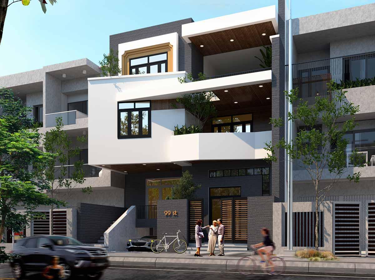 Phối cảnh ấn tượng của mẫu thiết kế nhà phố 3 tầng mặt tiền 10m