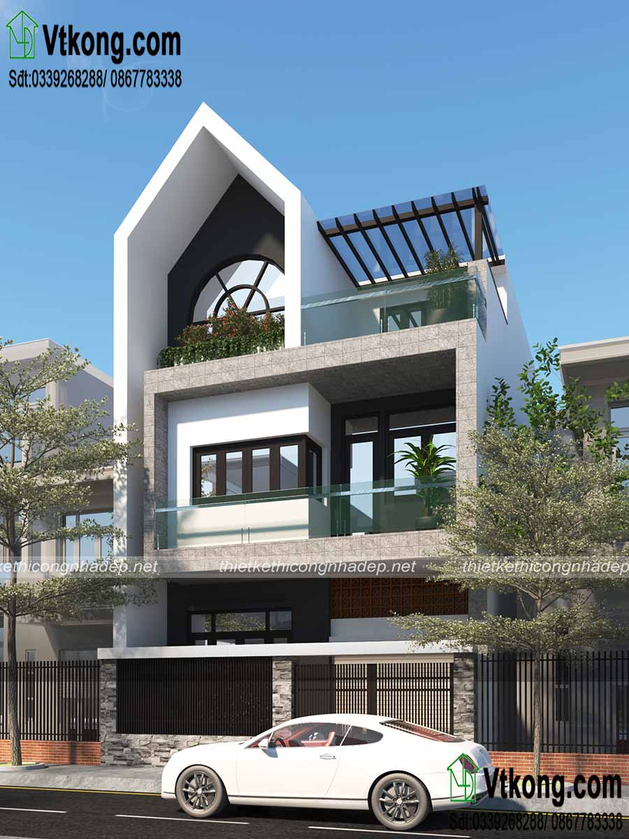 Phối cảnh kiến trúc mẫu nhà phố 3 tầng 7x13m