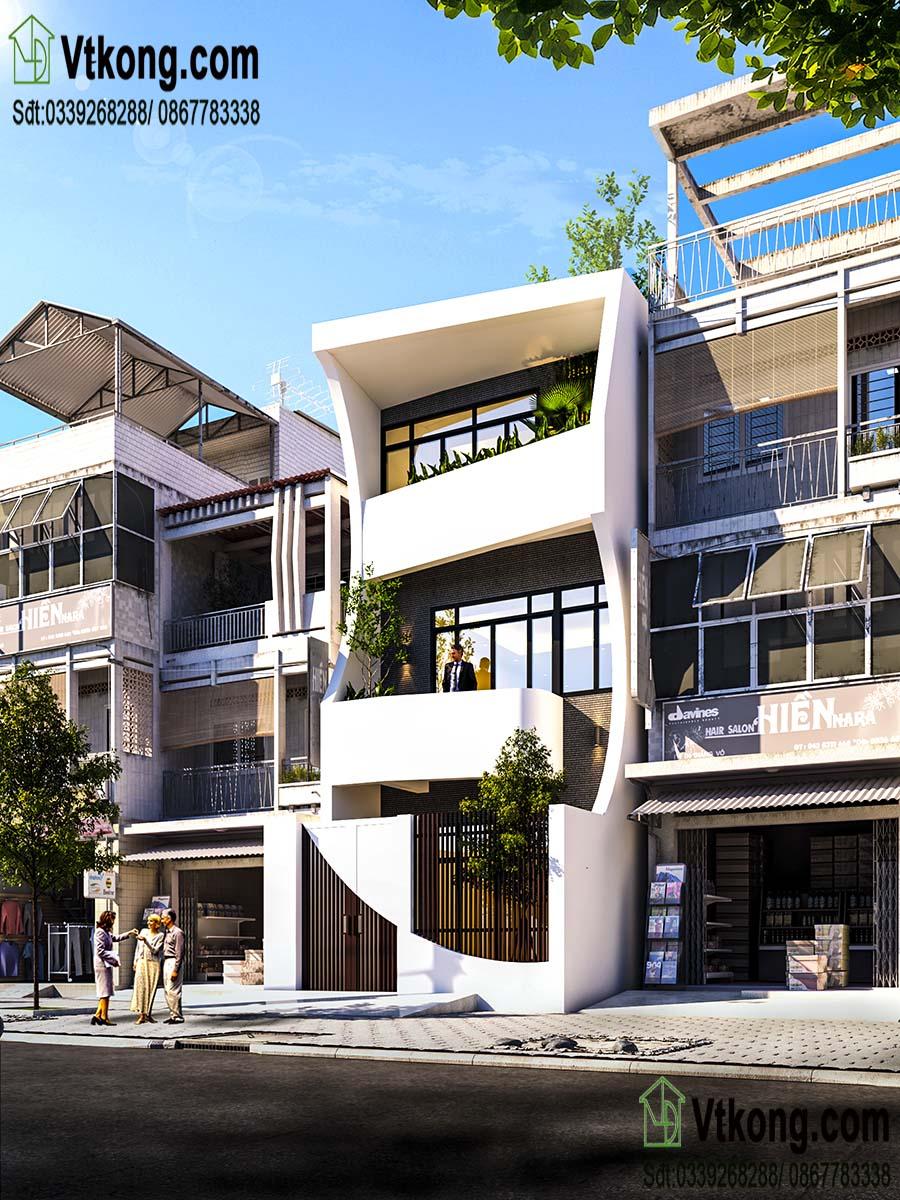 phối cảnh mặt tiền đẹp độc đáo mẫu nhà phố 3 tầng