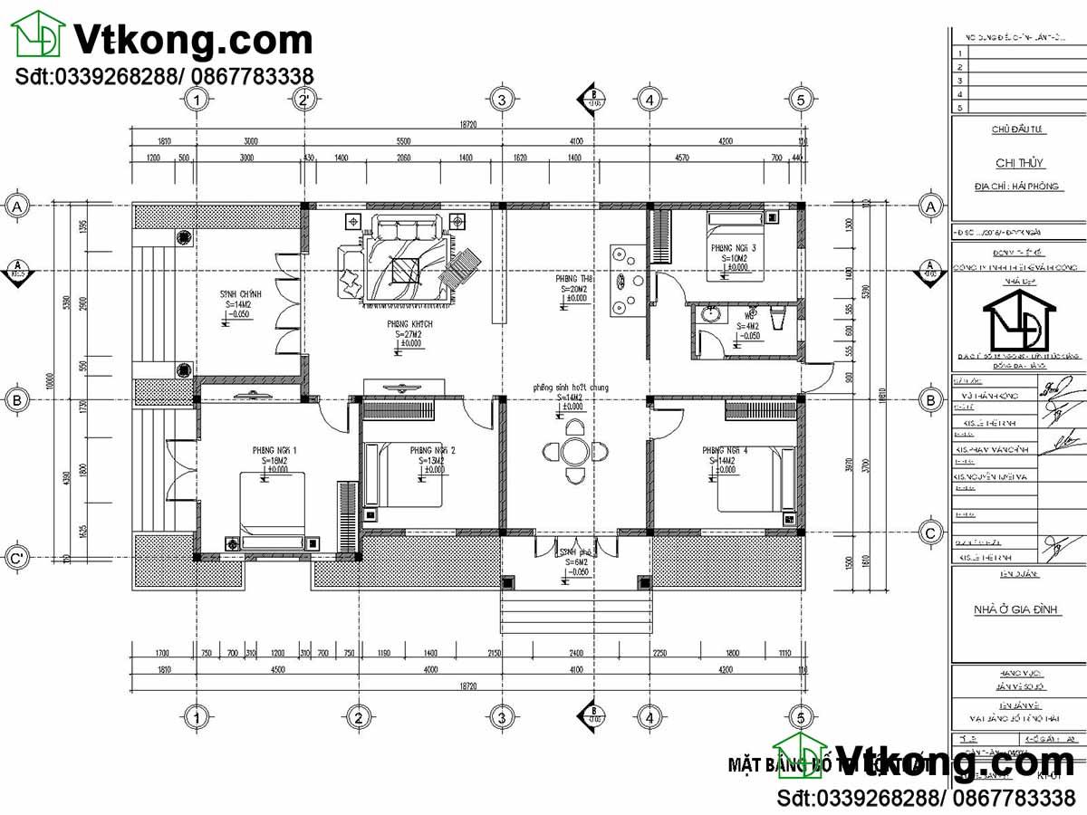 Bản vẽ chi tiết mẫu nhà 1 tầng đẹp.