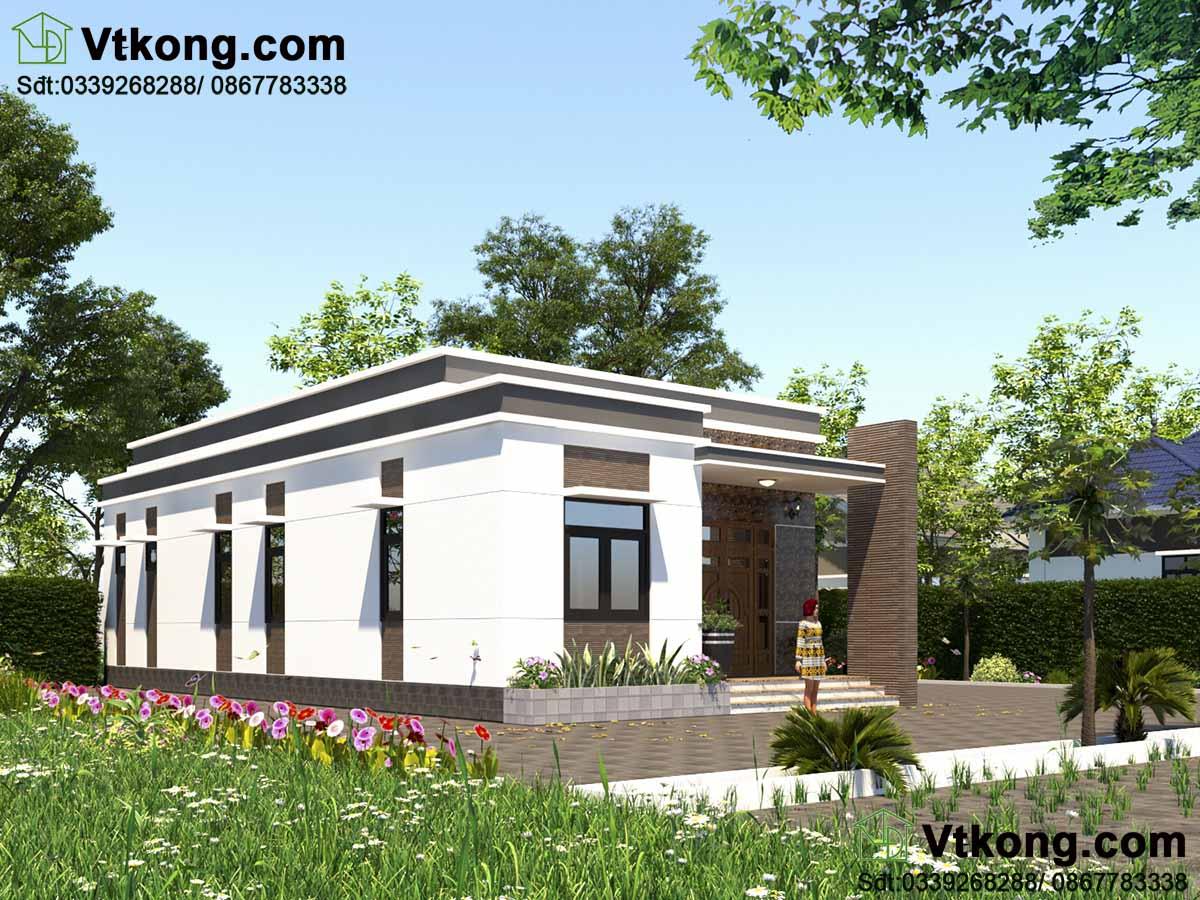 Thiết kế nhà cấp 4 mái bằng 3 phòng ngủ nông thôn đẹp mái bằng