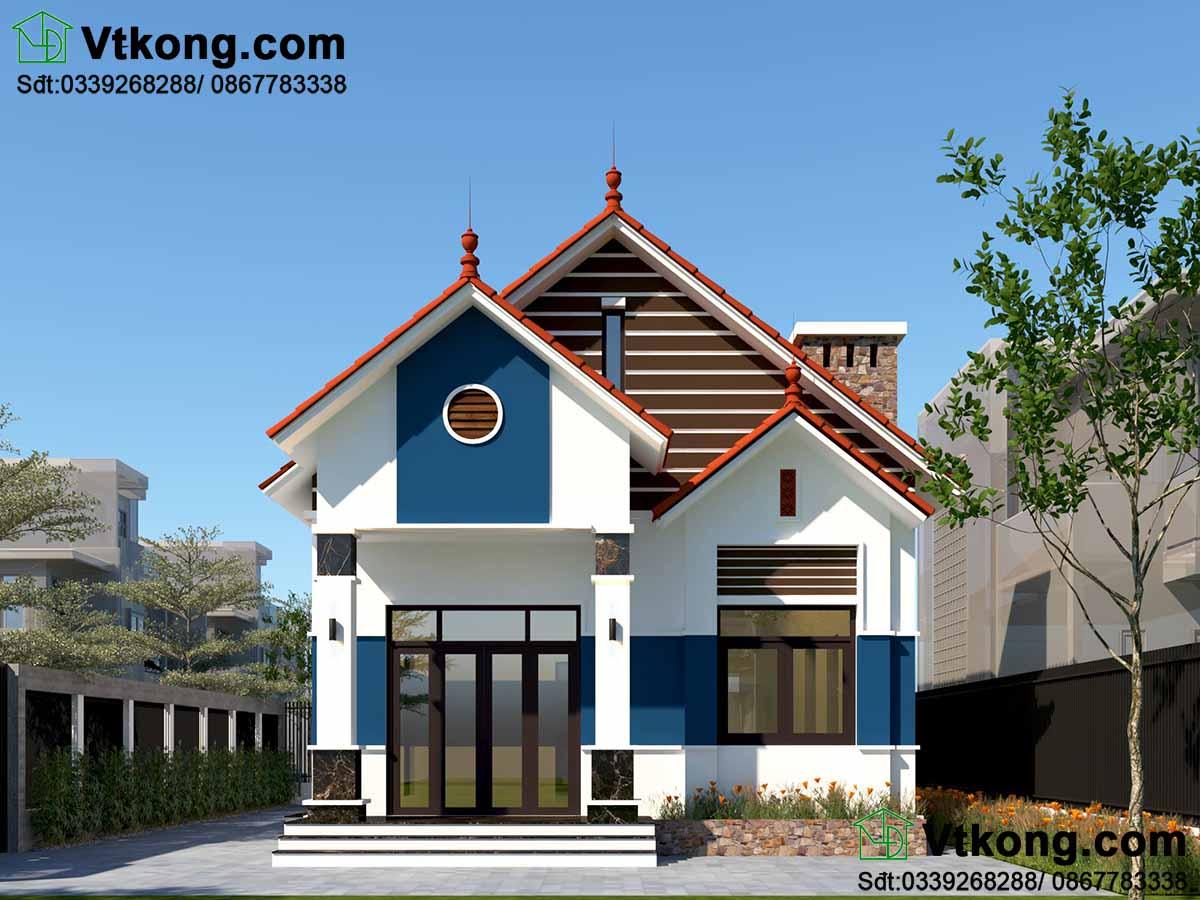 Thiết kế nhà cấp 4 nông thôn đơn giản mái thái hiện đại