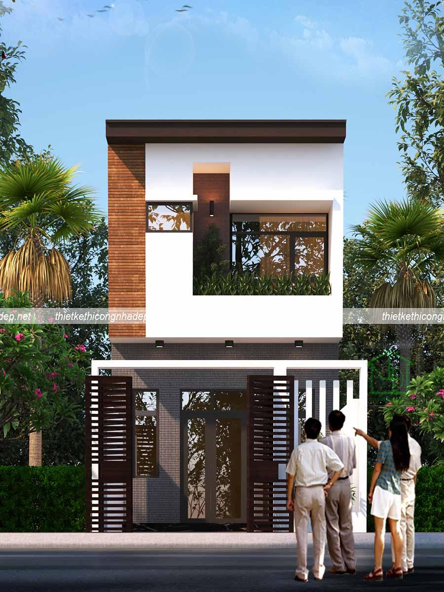 thiết kế mặt tiền mẫu nhà phố 2 tầng 5x13m