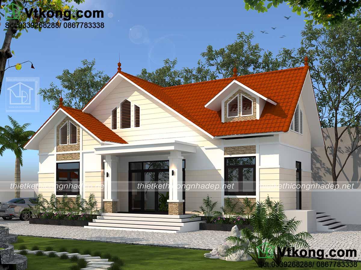 Mẫu thiết kế nhà vườn mái thái đơn giản mà rất sang trọng