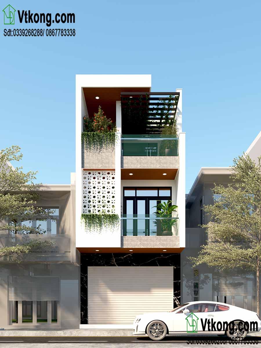Phối cảnh thiết kế tinh tế của mẫu nhà phố 3 tầng 4.5x18m