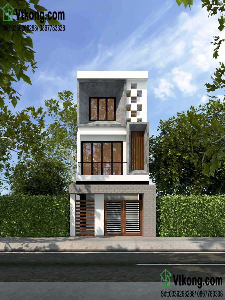 Mặt tiền của mẫu nhà phố 3 tầng 5x17m hiện đại