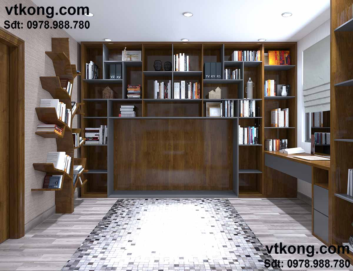 Nội thất chung cư phòng đọc sách.