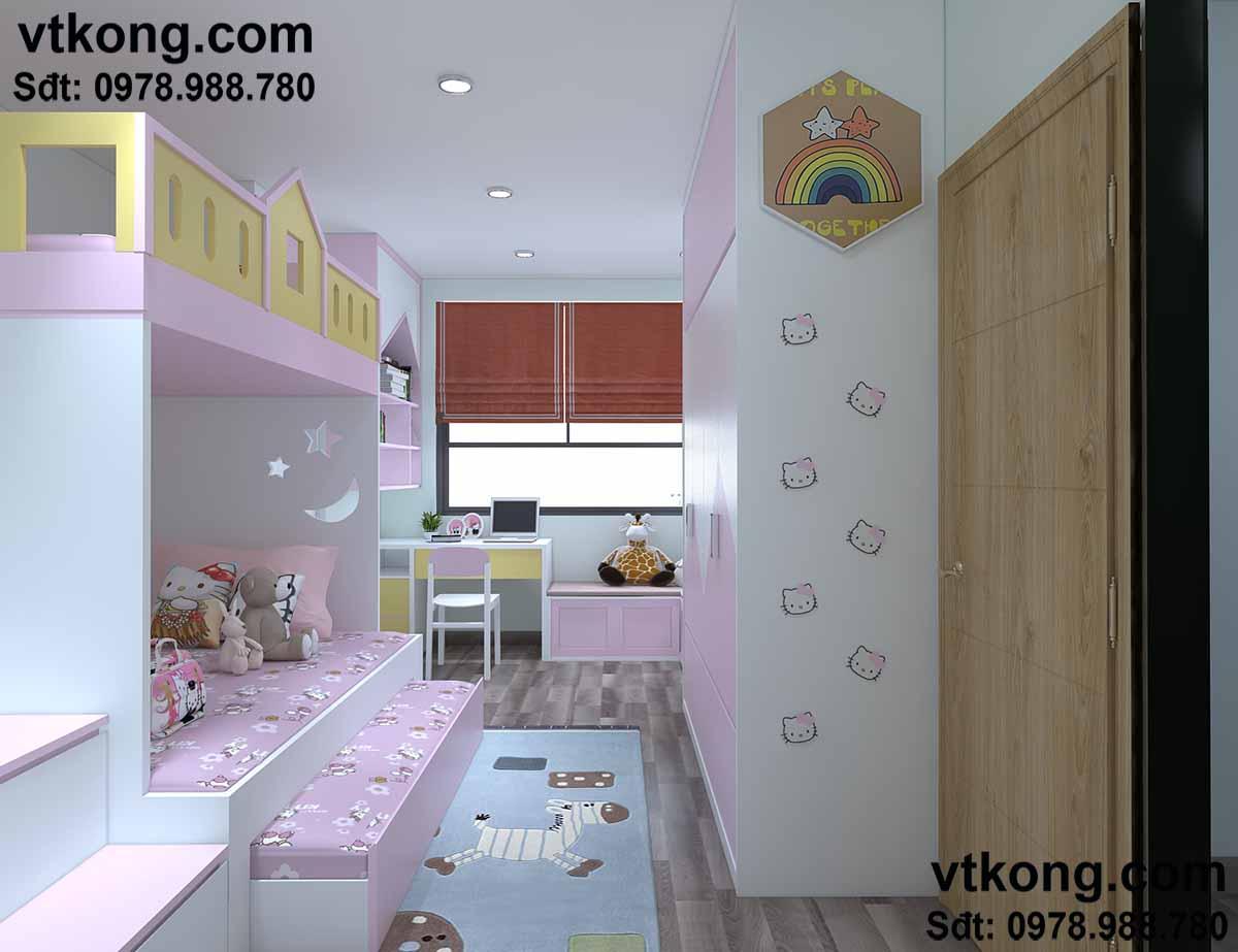 Phòng riêng thiết kế mơ mộng, phù hợp với bé.