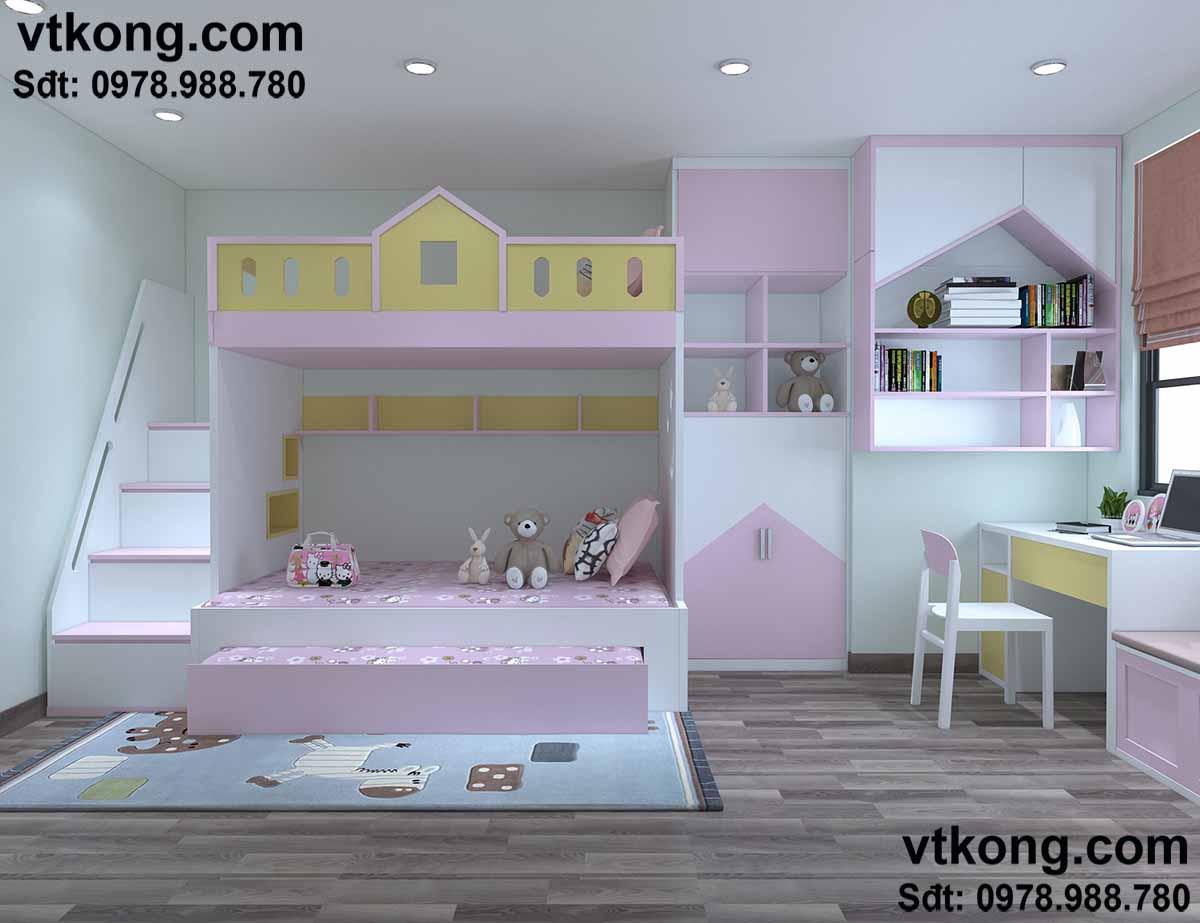 Thiết kế phòng đơn giản cho bé yêu.