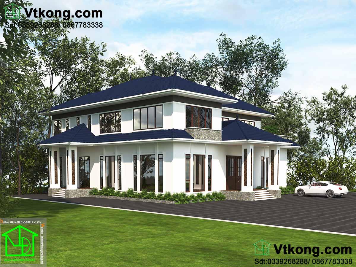 Thiết kế thi công mẫu biệt thự hiện đại 2 tầng