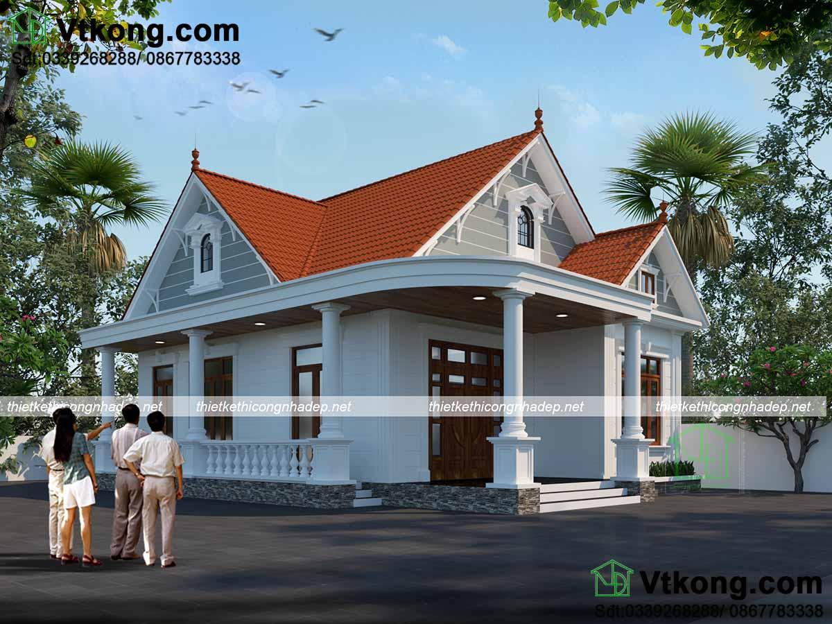Phối cảnh thiết kế mẫu nhà cấp 4 2 phòng ngủ mái thái nông thôn đẹp