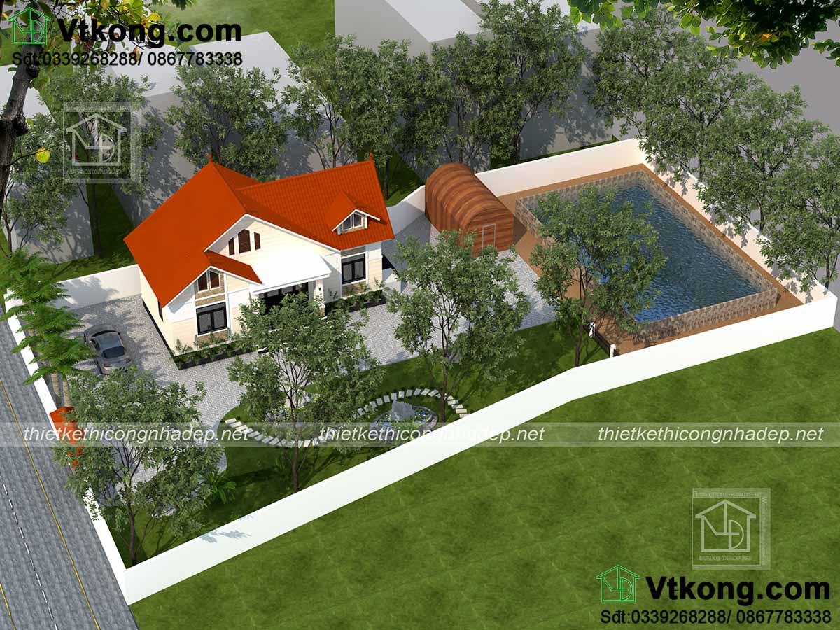 Nhìn từ trên cao xuống mẫu thiết kế nhà vườn mái thái