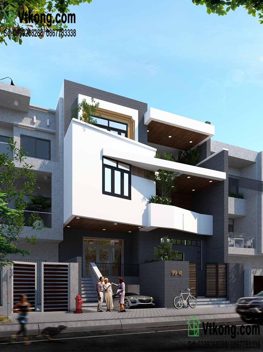 Tư vấn thiết kế nhà phố 3 tầng mặt tiền 10m độc đáo NP3T05 3