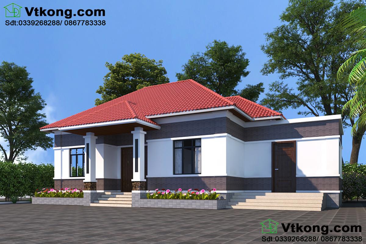 Thi công trọn gói biệt thự 1 tầng với 2 phương án thiết kế.