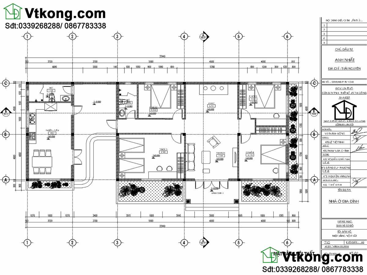 Bản vẽ chi tiết thiết kế biệt thự 1 tầng hiện đại.