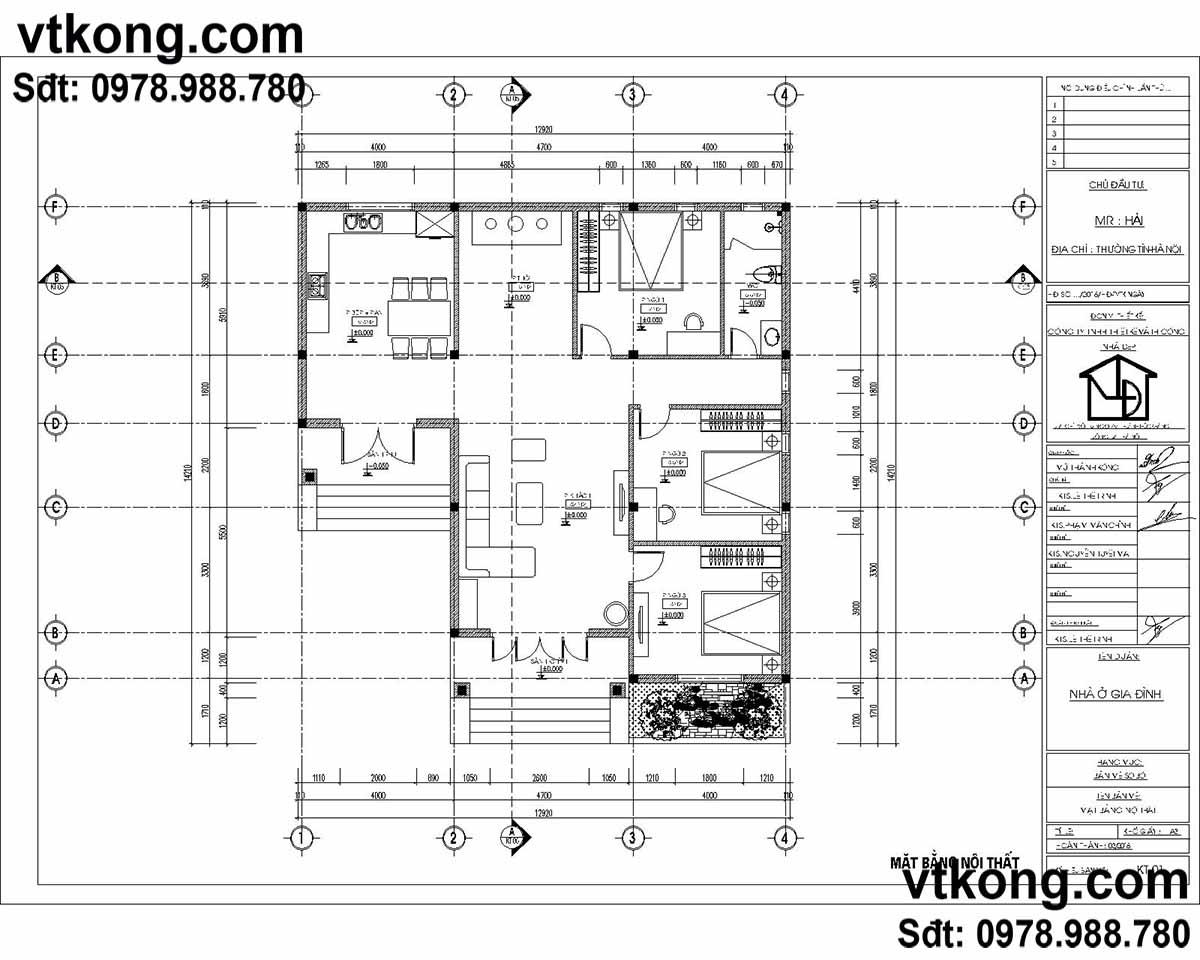 Bản vẽ chi tiết nội thất biệt thự 1 tầng.