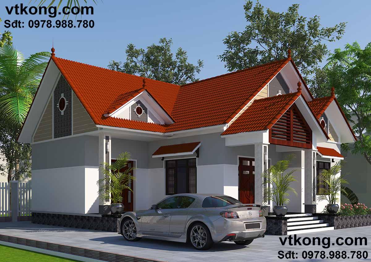 Mái thái thiết kế cầu kì tạo điểm nhấn cho căn nhà.