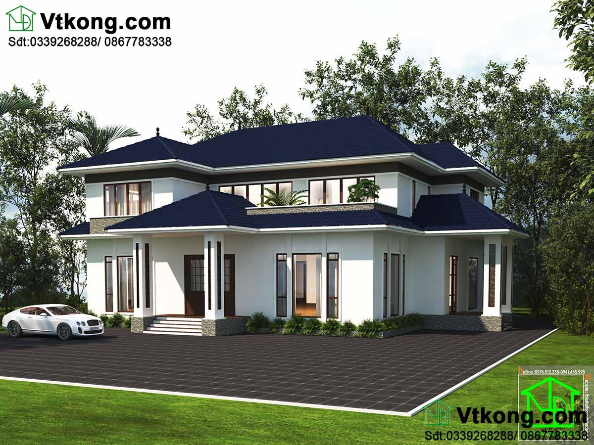 Thiết kế mẫu biệt thự hiện đại 2 tầng 20x23m