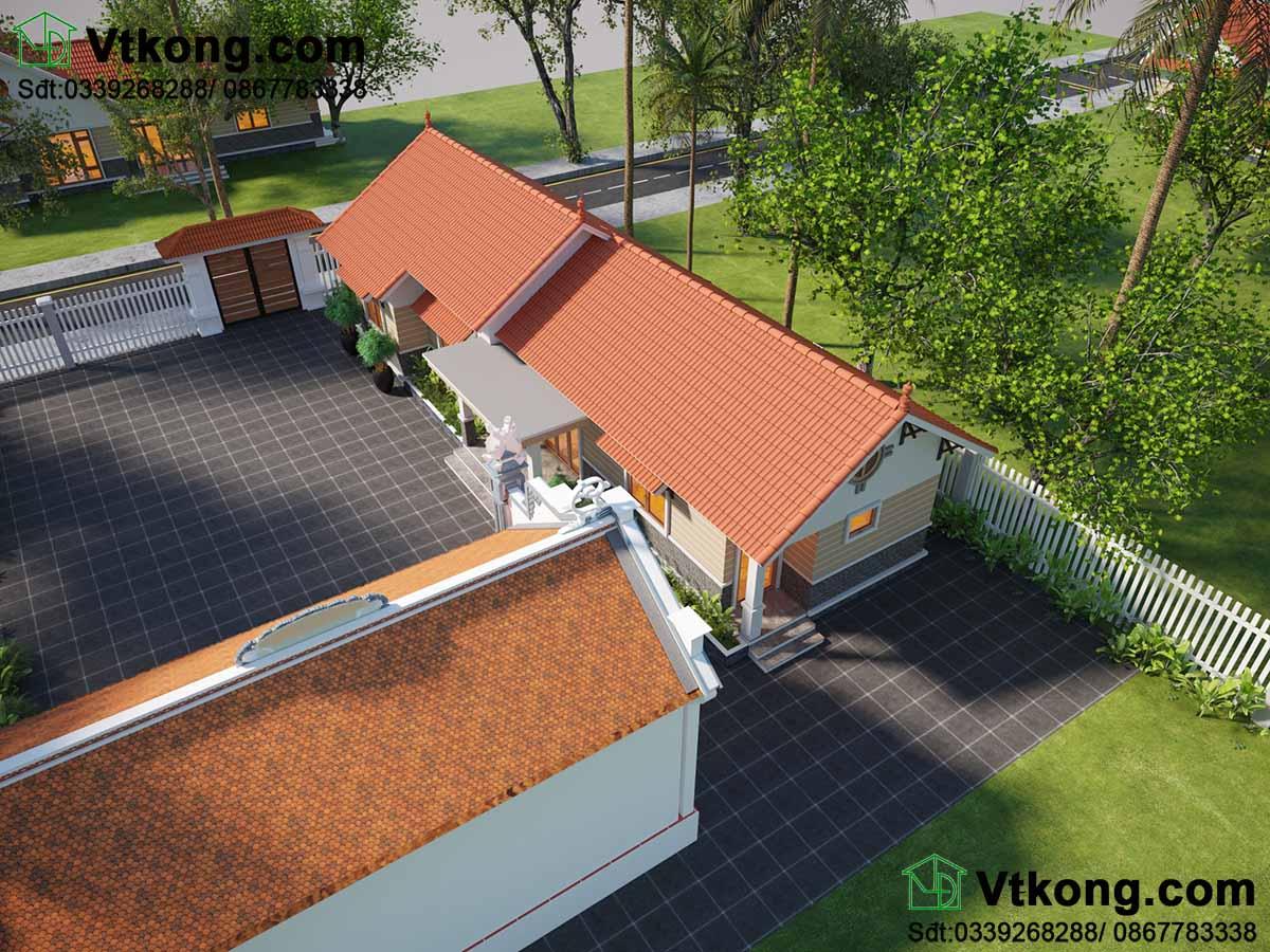 Phần mái thái làm nổi bật toàn bộ kiến trúc của căn biệt thự