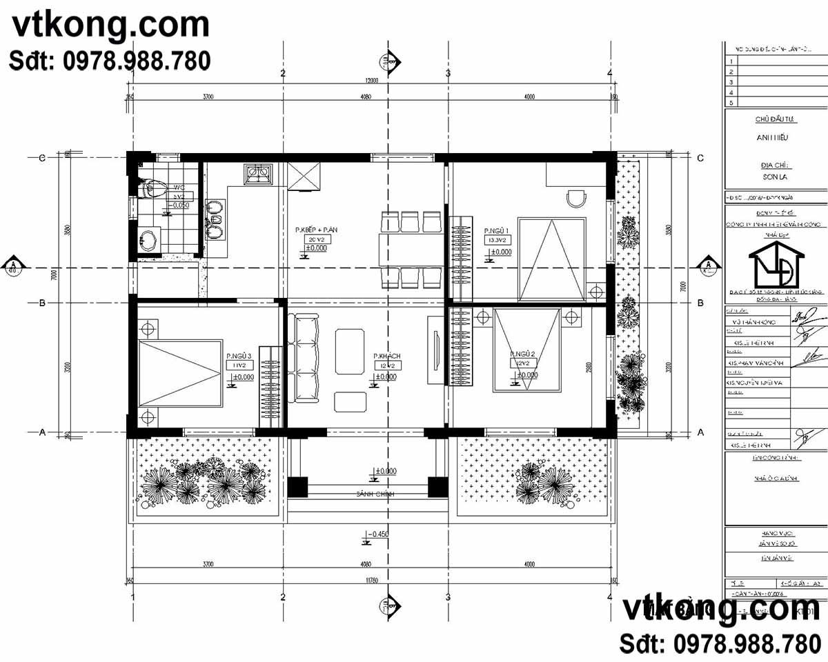 Bản vẽ chi tiết nhà vườn 1 tầng mái thái.