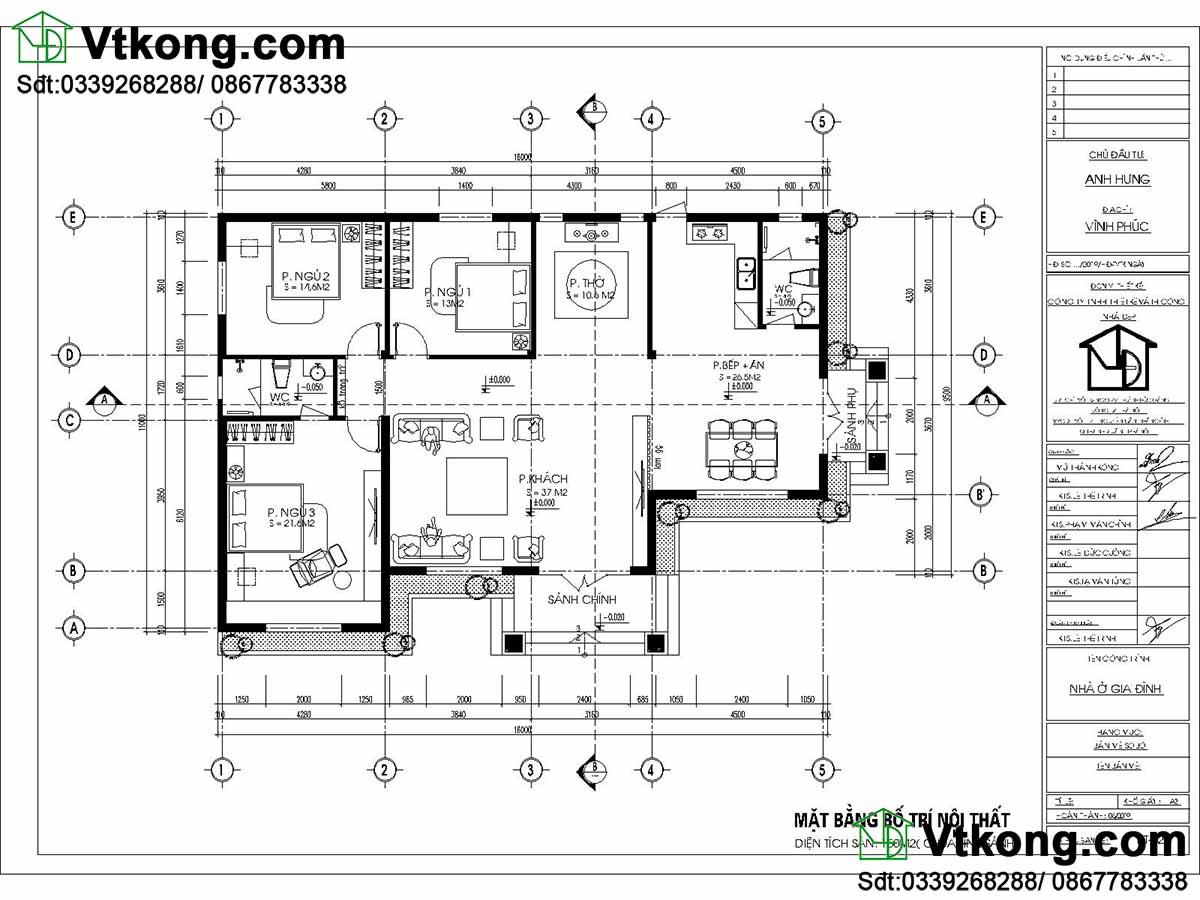 Bản vẽ chi tiết biệt thự vườn 1 tầng tại Vĩnh Phúc,