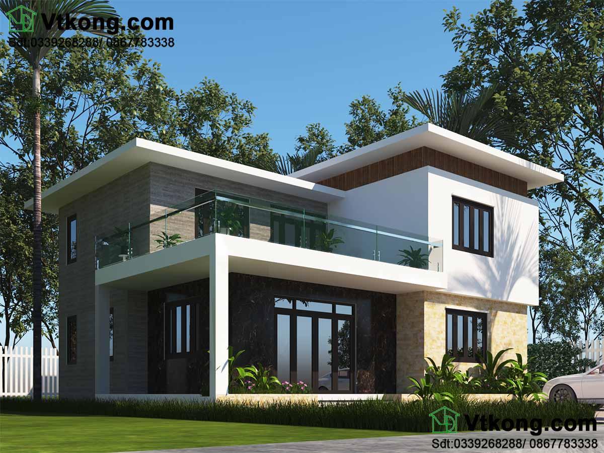 Biệt thự 2 tầng thiết kế theo phong cách hiện đại.