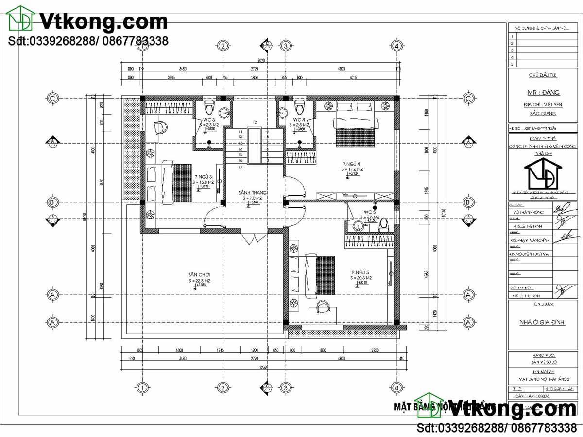 Mặt bằng nội thất biệt thự 2 tầng hiện đại.