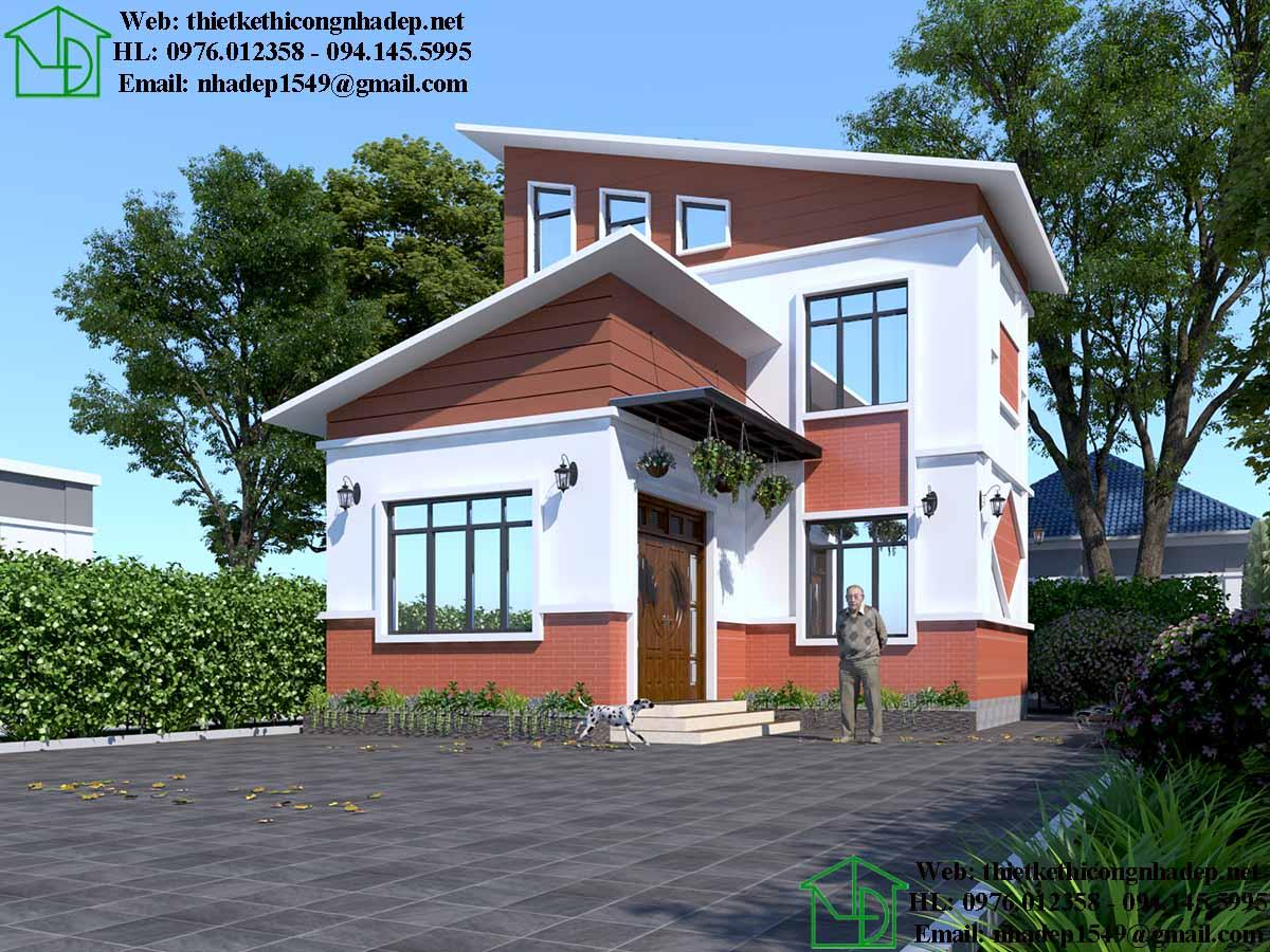 Phương án thiết kế thứ 2 cho nhà 2 tầng.