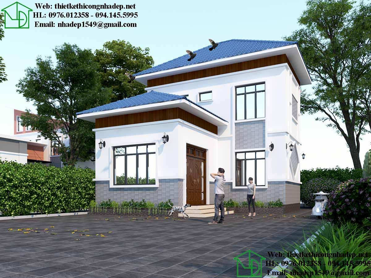 Phương án thiết kế thứ 3 cho nhà 2 tầng.