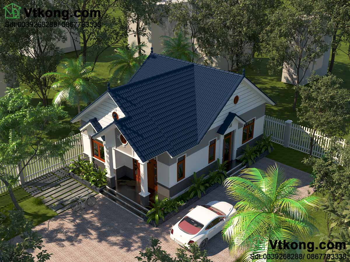 Phương án thiết kế 2 mẫu nhà biệt thự 1 tầng đẹp.