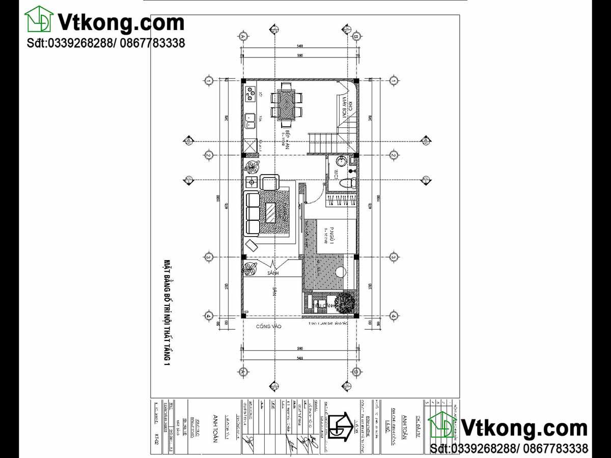 Mặt bằng nội thất mẫu nhà phố 2 tầng mái bằng.