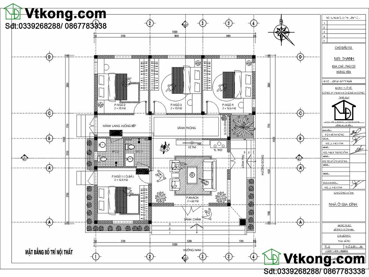 Bản vẽ chi tiết mặt bằng nội thất nhà mái thái 1 tầng.