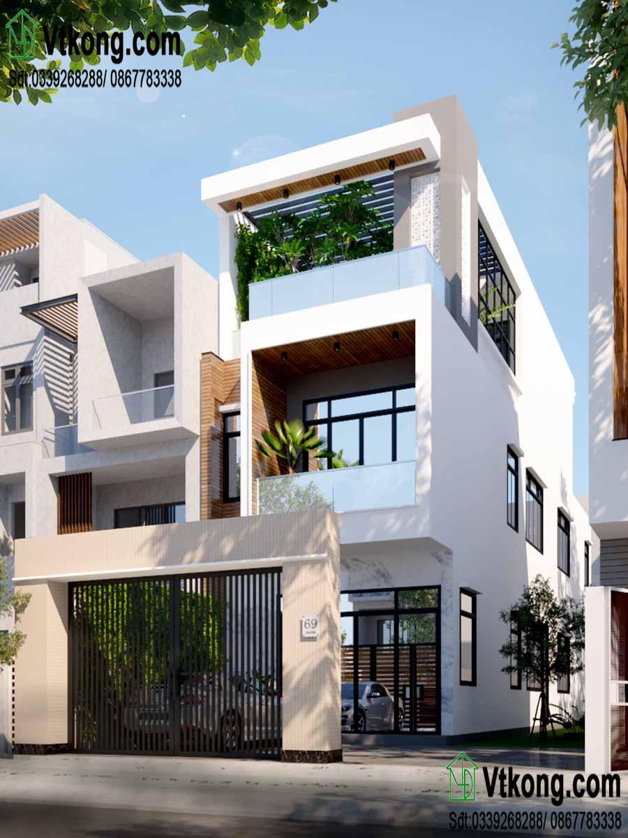 Một góc nghiêng khác nhà phố 3 tầng hiện đại.