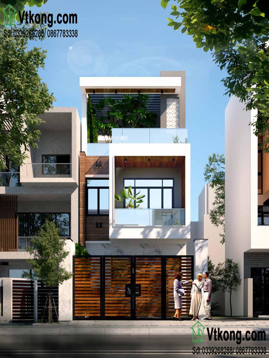 Phương án thiết kế cửa thứ 2 đối với nhà 3 tầng.