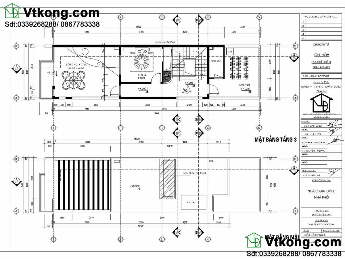 Mặt bằng tầng 3 và mặt bằng mái biệt thự 3 tầng.