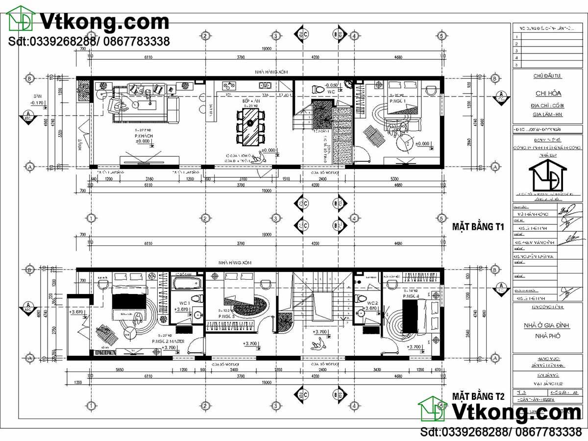 Mặt bằng chi tiết tầng 1 và tầng 2 của nhà phố.