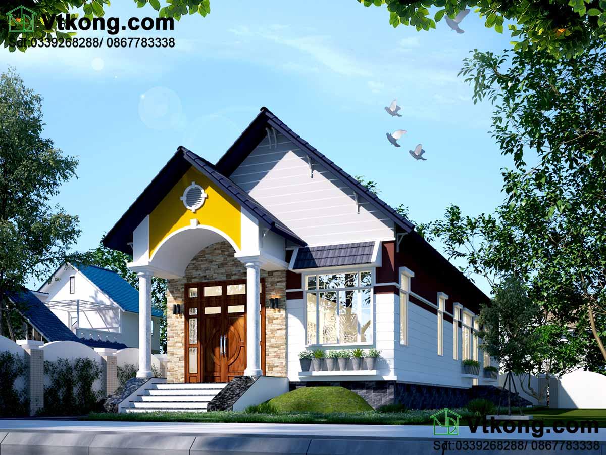 Thiết kế nhà 1 tầng theo phong cách hiện đại.