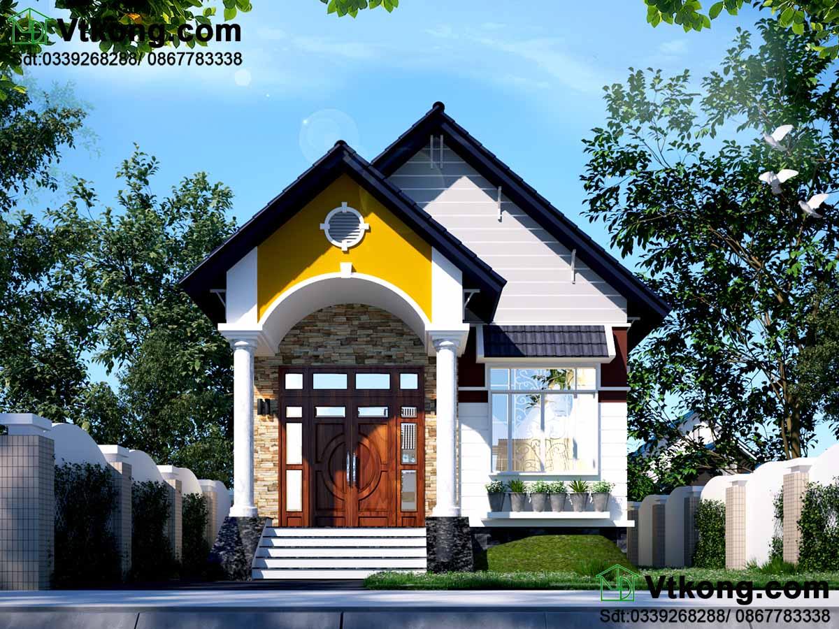 Thiết kế nhà 1 tầng với phối cảnh mặt tiền ấn tượng.