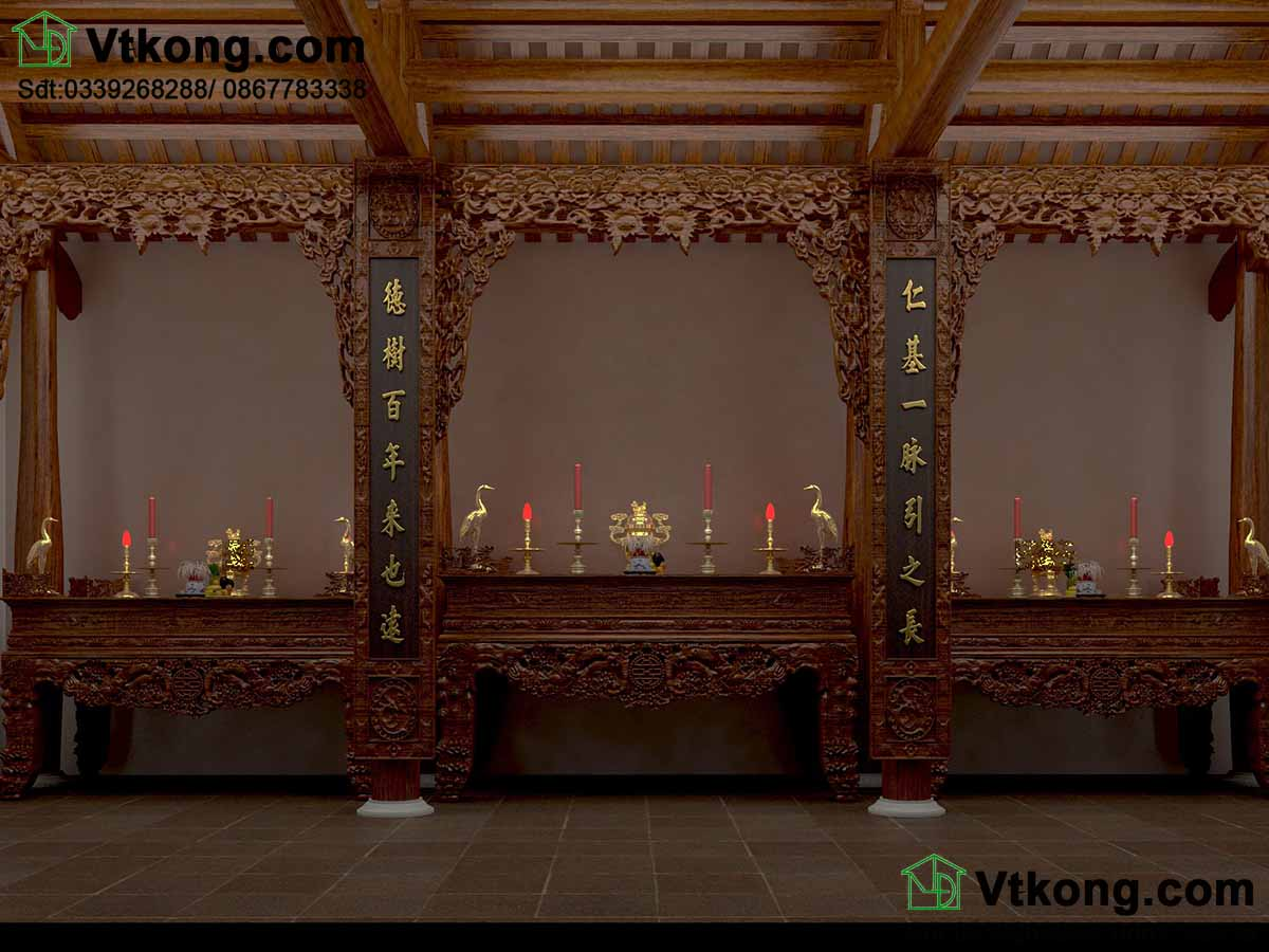 Thiết kế bàn thờ họ với bàn thờ bày trí quy cách.